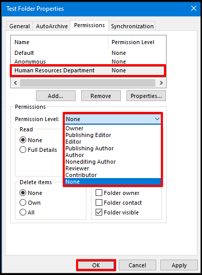 Setting permission level on outlook shared mailbox
